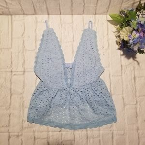 Crochet Crop Top M Blue Adjustable Strap V-neck